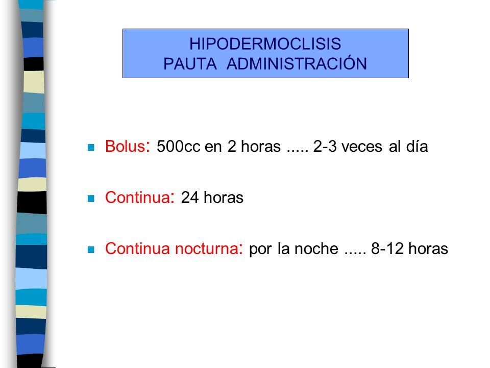 HIPODERMOCLISIS PAUTA ADMINISTRACIÓN n Bolus : 500cc en 2 horas..... 2-3 veces al día n Continua : 24 horas n Continua nocturna : por la noche..... 8-