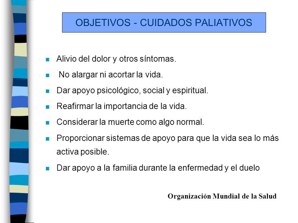 OBJETIVOS - CUIDADOS PALIATIVOS n Alivio del dolor y otros síntomas.