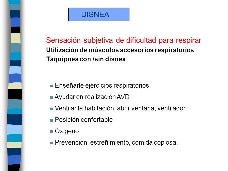 DISNEA Sensación subjetiva de dificultad para respirar Utilización de músculos accesorios respiratorios Taquipnea con /sin disnea n Enseñarle ejercici