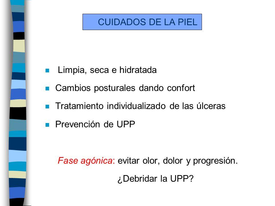 CUIDADOS DE LA PIEL n Limpia, seca e hidratada n Cambios posturales dando confort n Tratamiento individualizado de las úlceras n Prevención de UPP Fas
