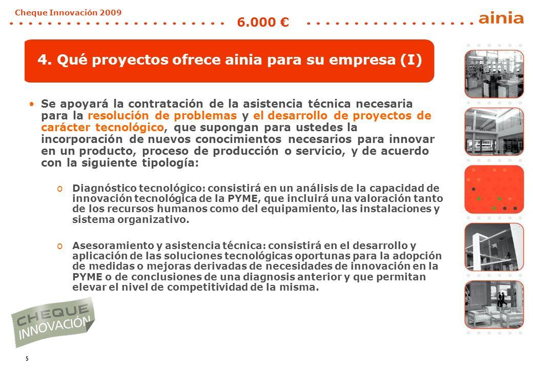 5 Cheque Innovación 2009 6.000 4. Qué proyectos ofrece ainia para su empresa (I) Se apoyará la contratación de la asistencia técnica necesaria para la