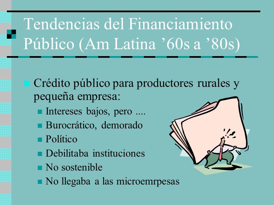 Tendencias del Financiamiento Público (Am Latina 60s a 80s) Crédito público para productores rurales y pequeña empresa: Intereses bajos, pero.... Buro