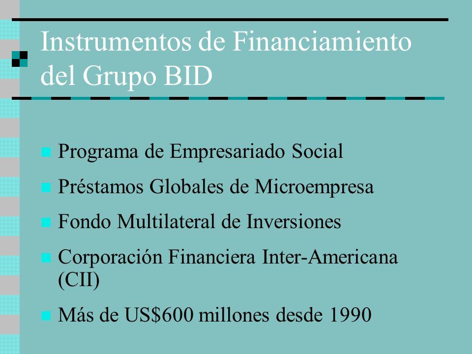 Instrumentos de Financiamiento del Grupo BID Programa de Empresariado Social Préstamos Globales de Microempresa Fondo Multilateral de Inversiones Corp