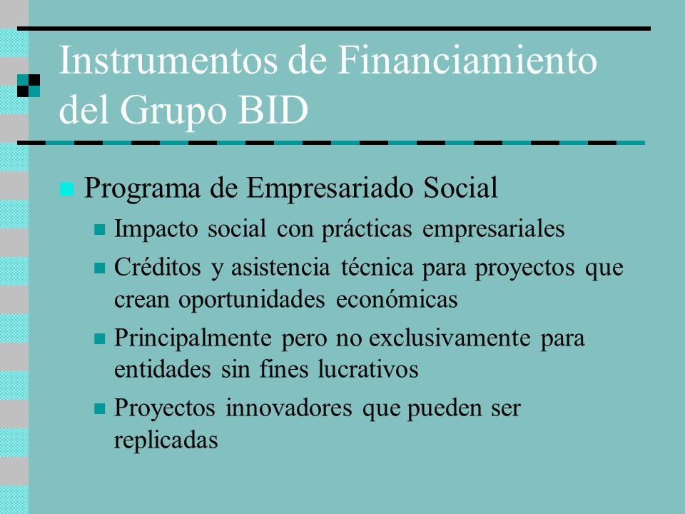 Instrumentos de Financiamiento del Grupo BID Programa de Empresariado Social Impacto social con prácticas empresariales Créditos y asistencia técnica