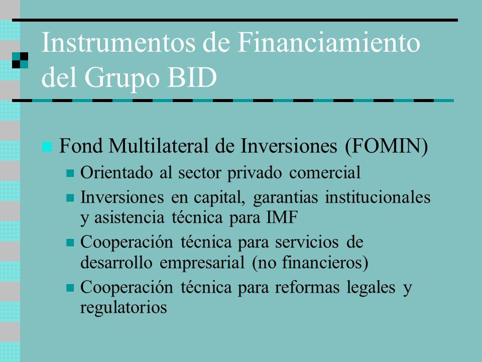 Instrumentos de Financiamiento del Grupo BID Fond Multilateral de Inversiones (FOMIN) Orientado al sector privado comercial Inversiones en capital, ga