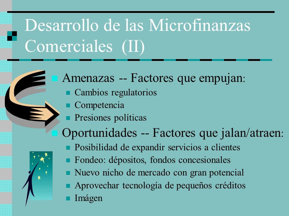 Desarrollo de las Microfinanzas Comerciales (II) Amenazas -- Factores que empujan : Cambios regulatorios Competencia Presiones políticas Oportunidades