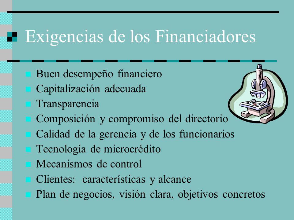 Exigencias de los Financiadores Buen desempeño financiero Capitalización adecuada Transparencia Composición y compromiso del directorio Calidad de la