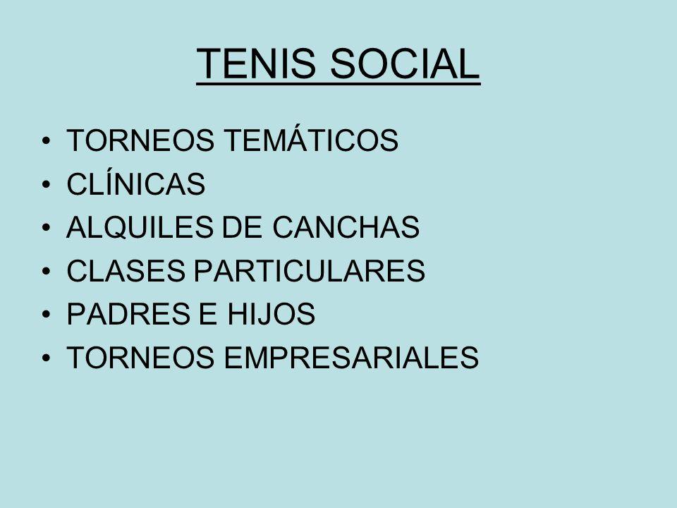 TENIS SOCIAL TORNEOS TEMÁTICOS CLÍNICAS ALQUILES DE CANCHAS CLASES PARTICULARES PADRES E HIJOS TORNEOS EMPRESARIALES