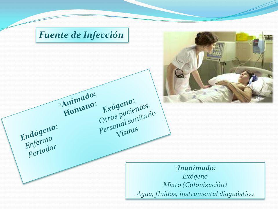 *Animado: Humano: Endógeno: Exógeno: Enfermo Otros pacientes. Portador Personal sanitario Visitas Fuente de Infección *Inanimado: Exógeno Mixto (Colon