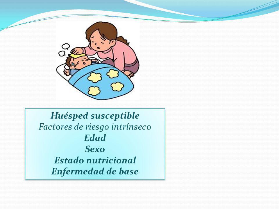 Huésped susceptible Factores de riesgo intrínseco Edad Sexo Estado nutricional Enfermedad de base
