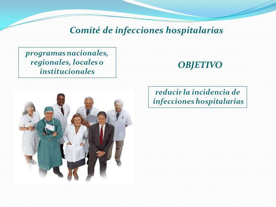 Comité de infecciones hospitalarias programas nacionales, regionales, locales o institucionales reducir la incidencia de infecciones hospitalarias OBJ