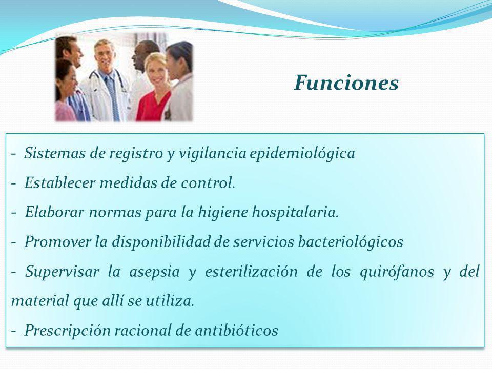 Funciones - Sistemas de registro y vigilancia epidemiológica - Establecer medidas de control. - Elaborar normas para la higiene hospitalaria. - Promov