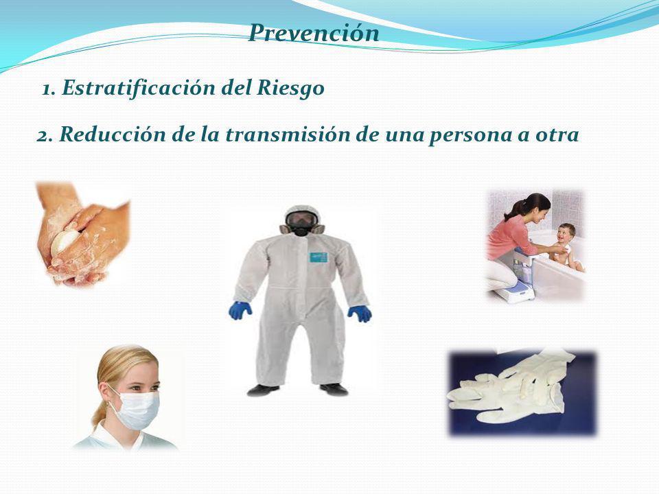 Prevención 1. Estratificación del Riesgo 2. Reducción de la transmisión de una persona a otra