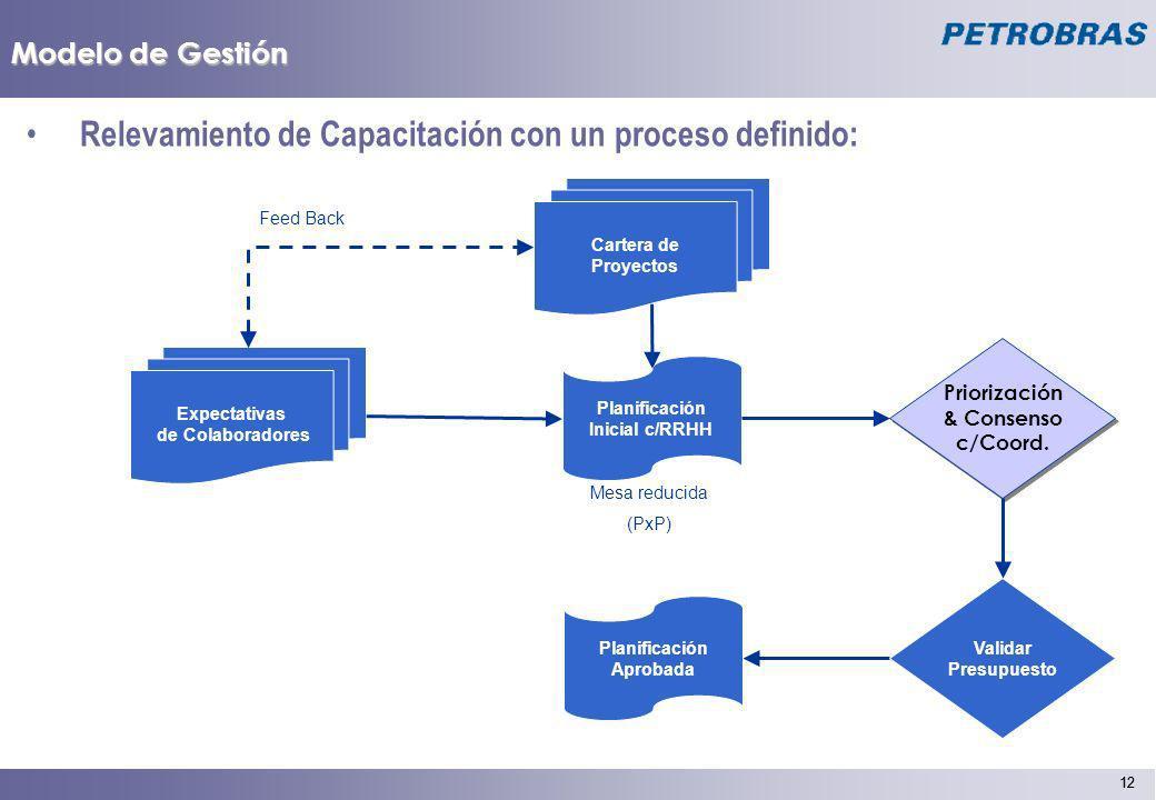 12 Modelo de Gestión Relevamiento de Capacitación con un proceso definido: Expectativas de Colaboradores Planificación Inicial c/RRHH Mesa reducida (P