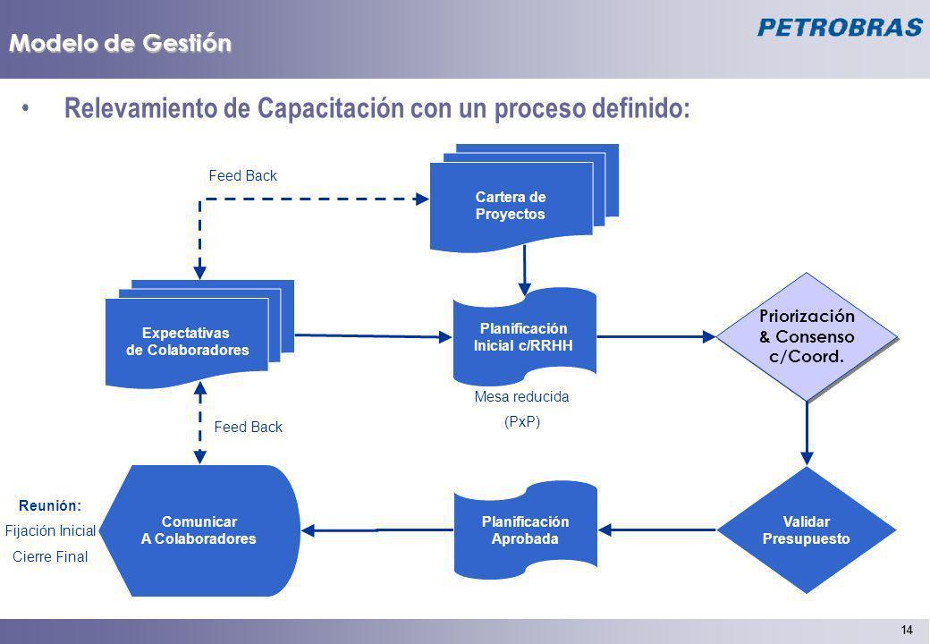 14 Modelo de Gestión Relevamiento de Capacitación con un proceso definido: Expectativas de Colaboradores Planificación Inicial c/RRHH Mesa reducida (P