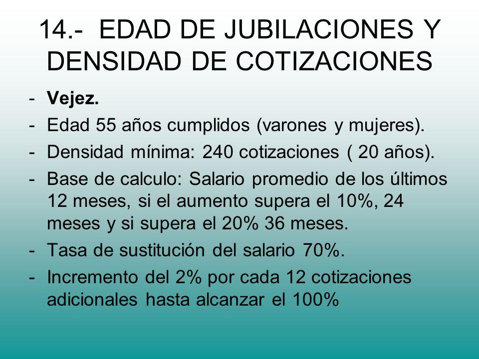 14.- EDAD DE JUBILACIONES Y DENSIDAD DE COTIZACIONES -Vejez.