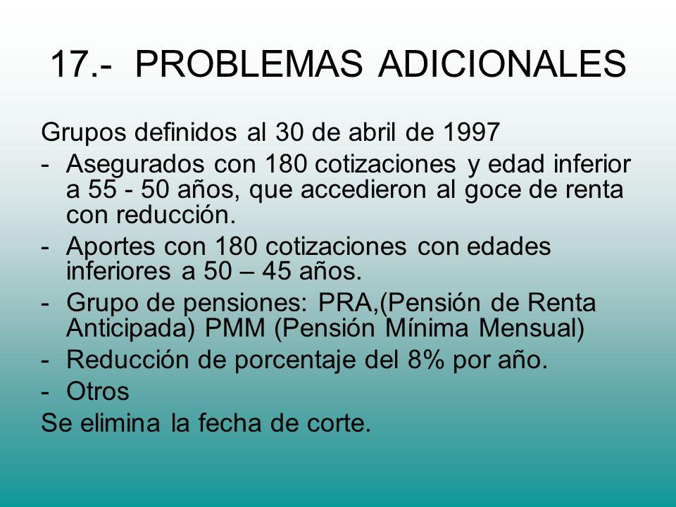 17.- PROBLEMAS ADICIONALES Grupos definidos al 30 de abril de 1997 -Asegurados con 180 cotizaciones y edad inferior a 55 - 50 años, que accedieron al goce de renta con reducción.