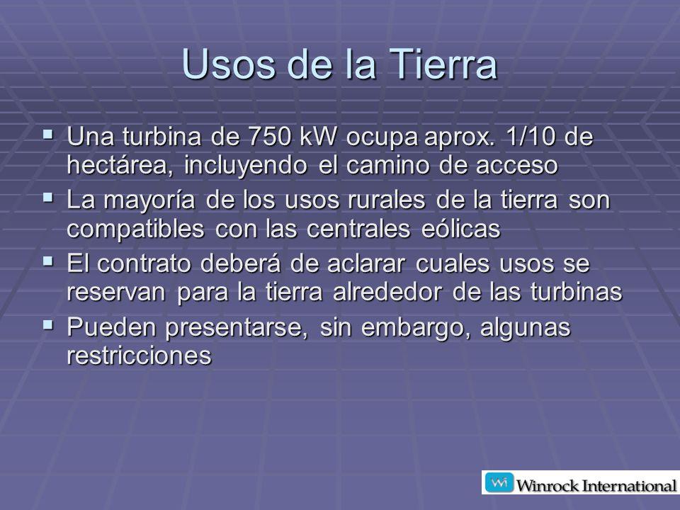 Usos de la Tierra Una turbina de 750 kW ocupa aprox.