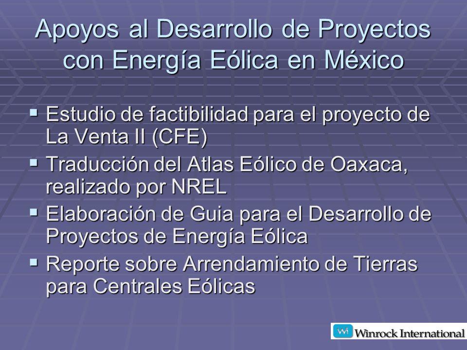 Precios Pagados en Contratos Revisados Cuota fija: Cuota fija: Rango: US$1,200-US$3,800 Rango: US$1,200-US$3,800 Promedio: US$2,200/MW Promedio: US$2,200/MW Otros estudios Otros estudios Wind Powering America: US$2,000-US$2,500/MW Wind Powering America: US$2,000-US$2,500/MW Turbine Verification Program: US$2,000-US$3,000/MW Turbine Verification Program: US$2,000-US$3,000/MW Regalías: Regalías: Rango: 1% – 4% Rango: 1% – 4% Mayoría entre 2% – 3% Mayoría entre 2% – 3% Rango: US$1,650 – US$3,200/MW Rango: US$1,650 – US$3,200/MW Promedio: US$2,800/MW Promedio: US$2,800/MW