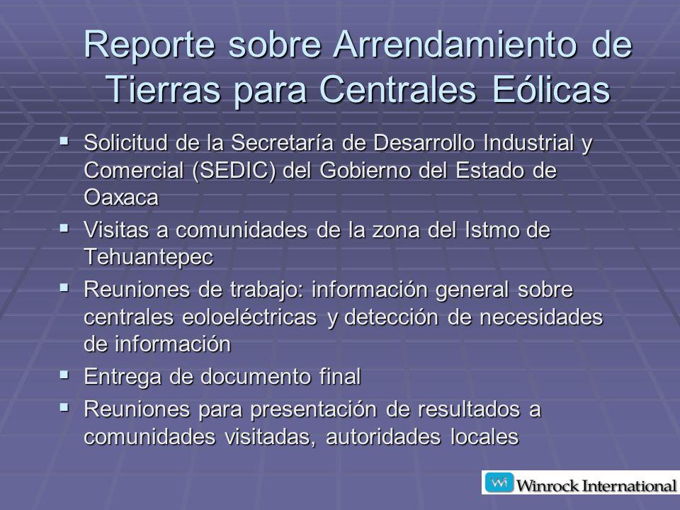 Proyecciones de Posibles Pagos en Oaxaca, México Central eólica de 50 MW Central eólica de 50 MW Total de terreno: 384 Has.