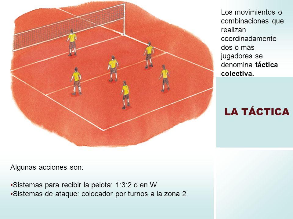 LA TÁCTICA Los movimientos o combinaciones que realizan coordinadamente dos o más jugadores se denomina táctica colectiva. Algunas acciones son: Siste