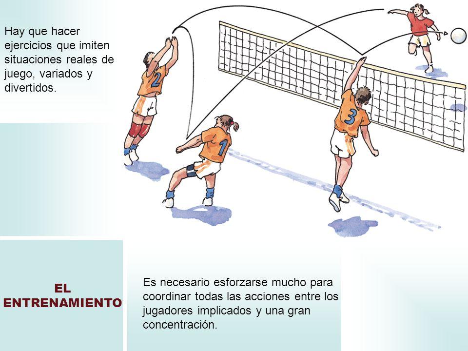 EL ENTRENAMIENTO Hay que hacer ejercicios que imiten situaciones reales de juego, variados y divertidos. Es necesario esforzarse mucho para coordinar