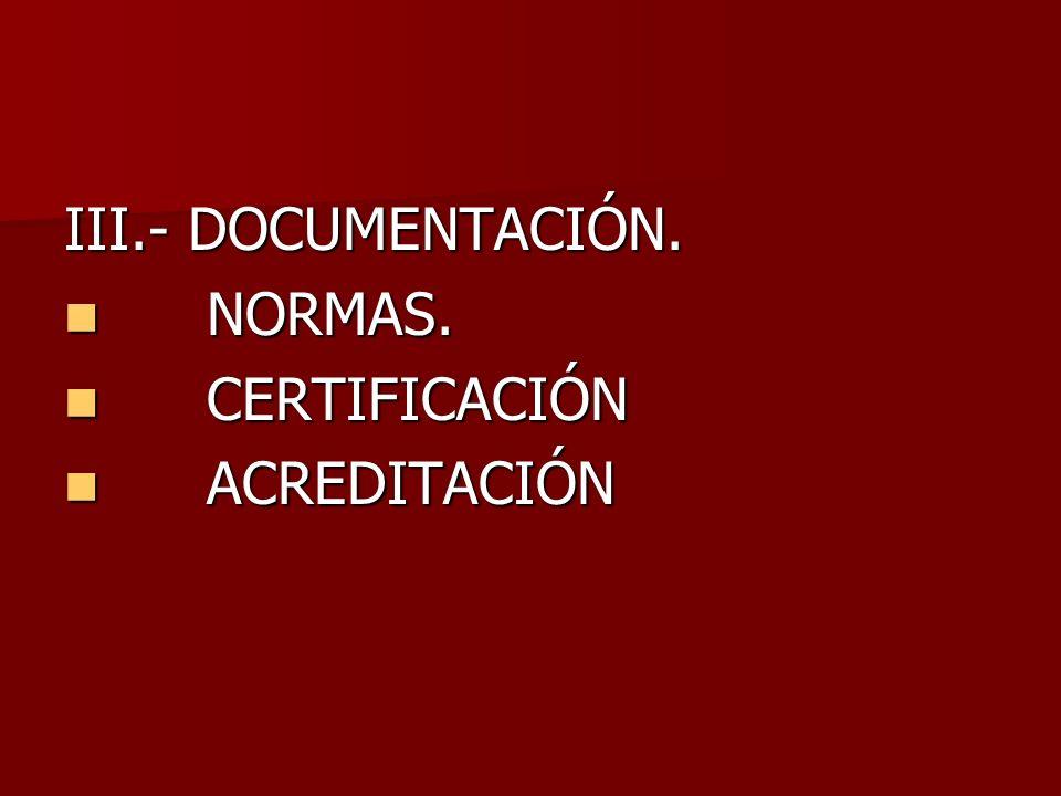 III.- DOCUMENTACIÓN. NORMAS. NORMAS. CERTIFICACIÓN CERTIFICACIÓN ACREDITACIÓN ACREDITACIÓN