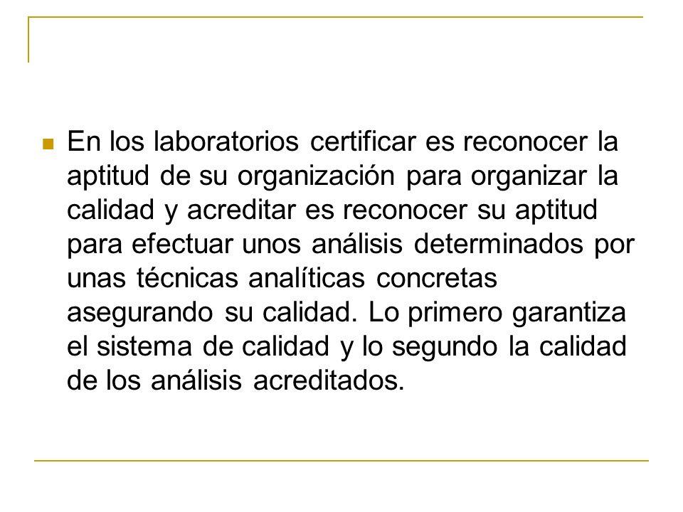En los laboratorios certificar es reconocer la aptitud de su organización para organizar la calidad y acreditar es reconocer su aptitud para efectuar