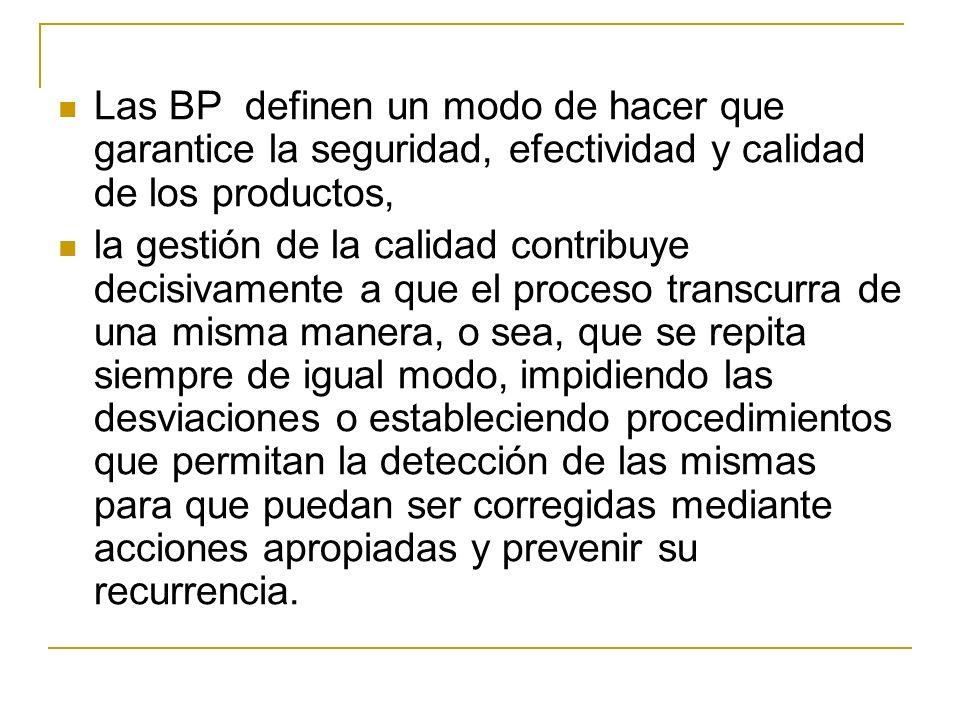 Las BP definen un modo de hacer que garantice la seguridad, efectividad y calidad de los productos, la gestión de la calidad contribuye decisivamente