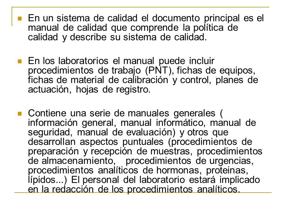 En un sistema de calidad el documento principal es el manual de calidad que comprende la política de calidad y describe su sistema de calidad. En los