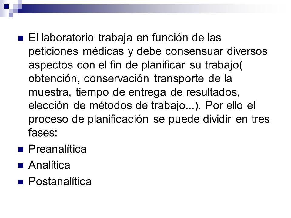 El laboratorio trabaja en función de las peticiones médicas y debe consensuar diversos aspectos con el fin de planificar su trabajo( obtención, conser