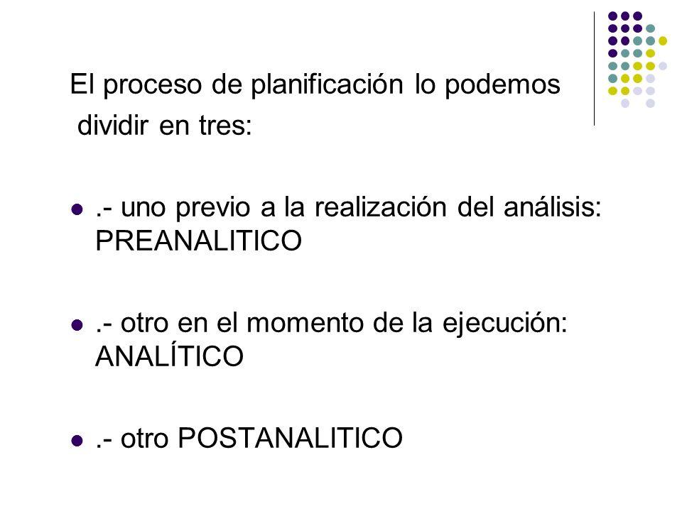 El proceso de planificación lo podemos dividir en tres:.- uno previo a la realización del análisis: PREANALITICO.- otro en el momento de la ejecución: