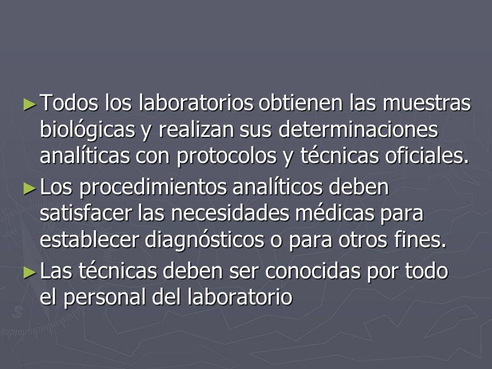 Todos los laboratorios obtienen las muestras biológicas y realizan sus determinaciones analíticas con protocolos y técnicas oficiales. Todos los labor