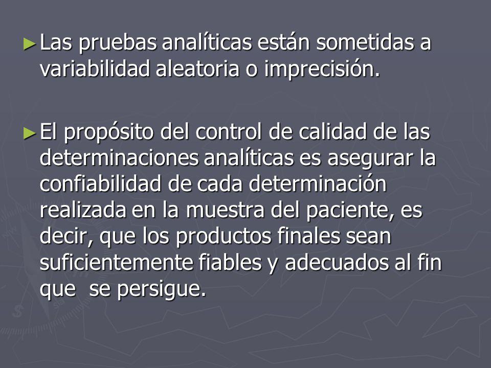 Las pruebas analíticas están sometidas a variabilidad aleatoria o imprecisión. Las pruebas analíticas están sometidas a variabilidad aleatoria o impre