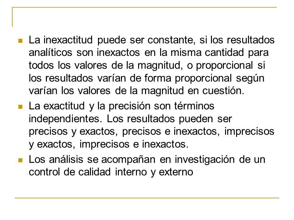 La inexactitud puede ser constante, si los resultados analíticos son inexactos en la misma cantidad para todos los valores de la magnitud, o proporcio