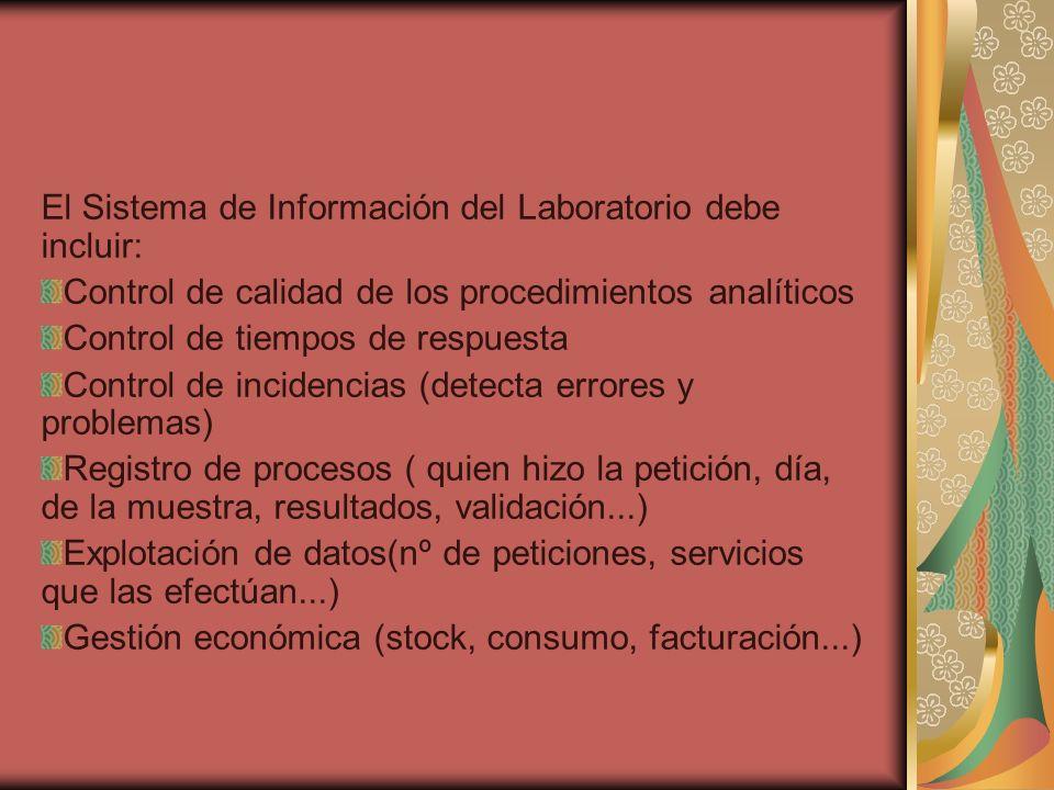El Sistema de Información del Laboratorio debe incluir: Control de calidad de los procedimientos analíticos Control de tiempos de respuesta Control de