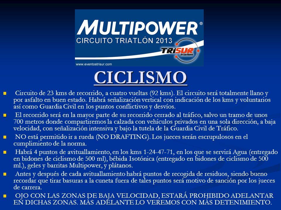 CICLISMO CICLISMO Circuito de 23 kms de recorrido, a cuatro vueltas (92 kms). El circuito será totalmente llano y por asfalto en buen estado. Habrá se
