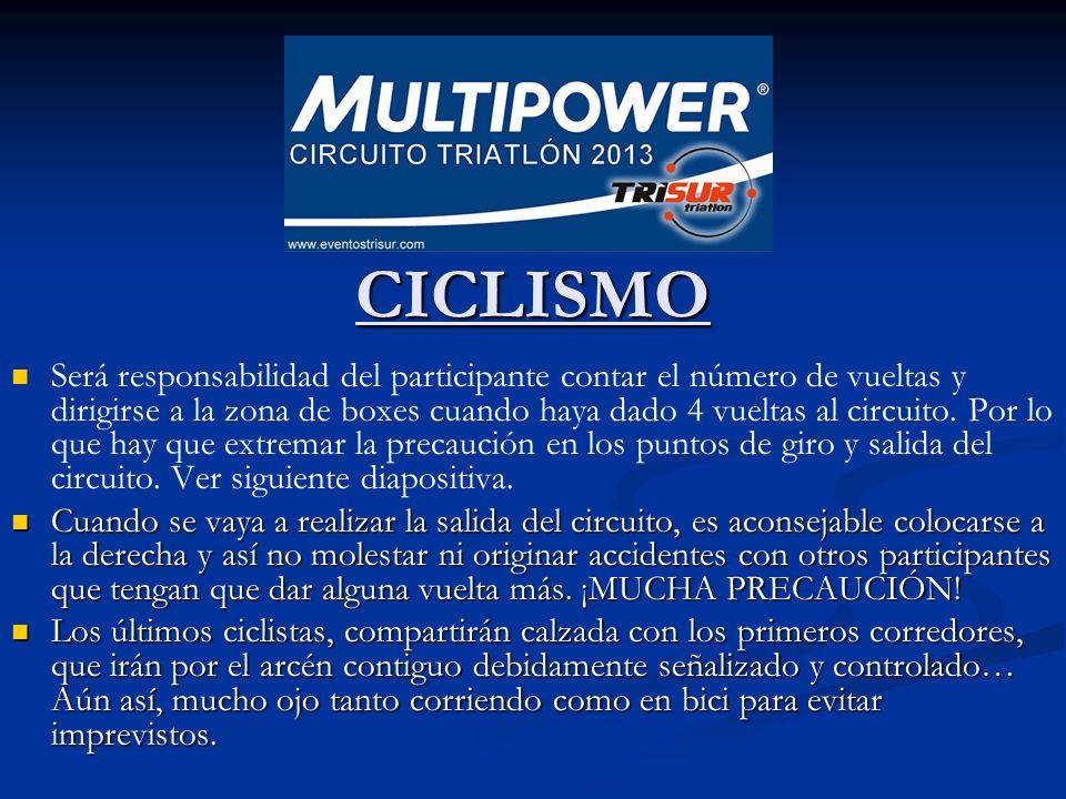 CICLISMO CICLISMO Será responsabilidad del participante contar el número de vueltas y dirigirse a la zona de boxes cuando haya dado 4 vueltas al circuito.