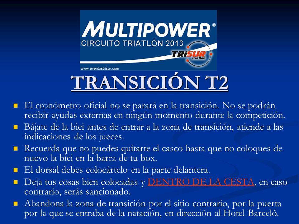 TRANSICIÓN T2 TRANSICIÓN T2 El cronómetro oficial no se parará en la transición. No se podrán recibir ayudas externas en ningún momento durante la com