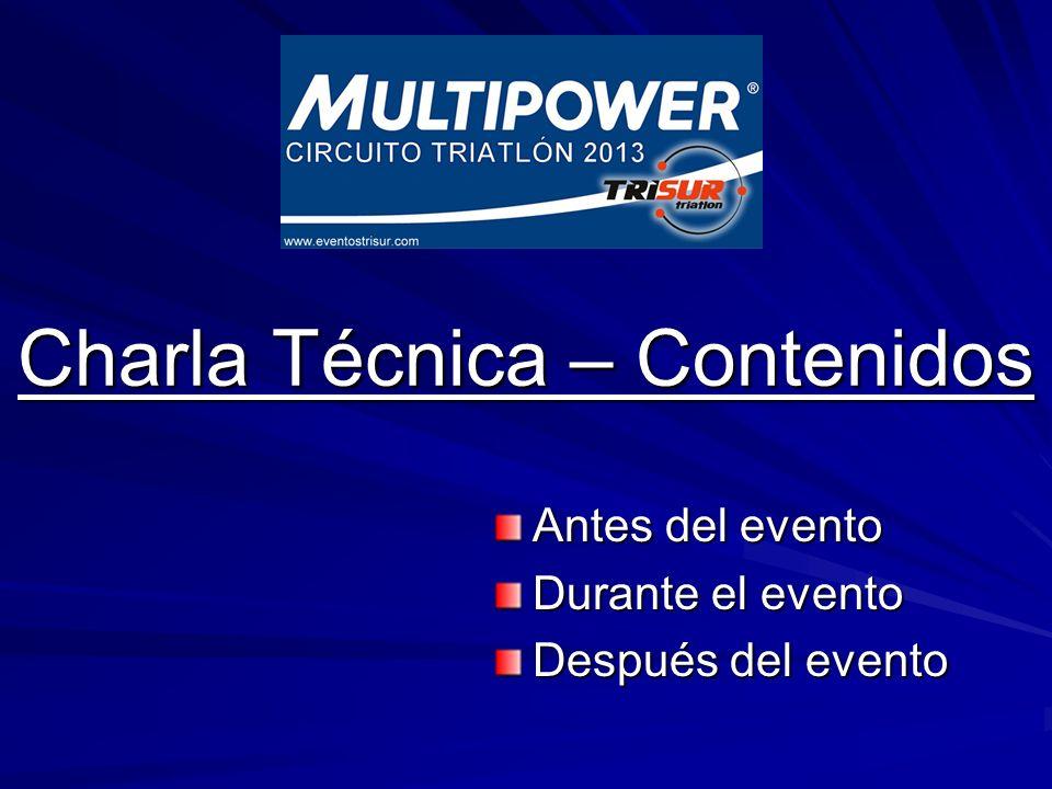 Charla Técnica – Contenidos Charla Técnica – Contenidos Antes del evento Durante el evento Después del evento