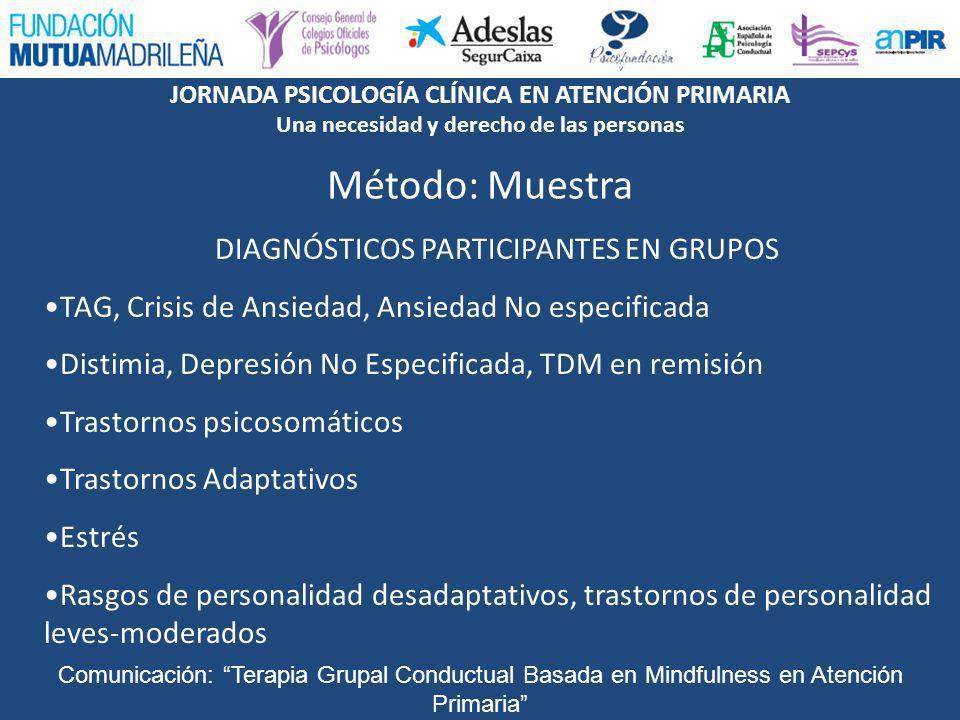 JORNADA PSICOLOGÍA CLÍNICA EN ATENCIÓN PRIMARIA Una necesidad y derecho de las personas Comunicación: Terapia Grupal Conductual Basada en Mindfulness