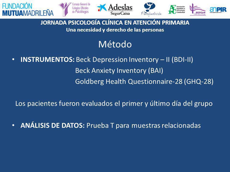 JORNADA PSICOLOGÍA CLÍNICA EN ATENCIÓN PRIMARIA Una necesidad y derecho de las personas INSTRUMENTOS: Beck Depression Inventory – II (BDI-II) Beck Anx