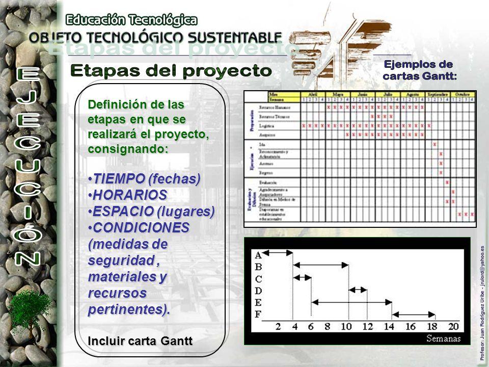 Definición de las etapas en que se realizará el proyecto, consignando: TIEMPO (fechas)TIEMPO (fechas) HORARIOSHORARIOS ESPACIO (lugares)ESPACIO (lugar