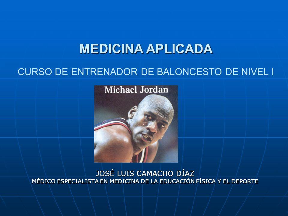 MEDICINA APLICADA MEDICINA APLICADA CURSO DE ENTRENADOR DE BALONCESTO DE NIVEL I JOSÉ LUIS CAMACHO DÍAZ MÉDICO ESPECIALISTA EN MEDICINA DE LA EDUCACIÓ