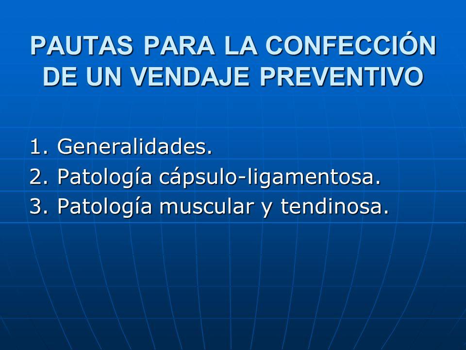 PAUTAS PARA LA CONFECCIÓN DE UN VENDAJE PREVENTIVO 1. Generalidades. 2. Patología cápsulo-ligamentosa. 3. Patología muscular y tendinosa.
