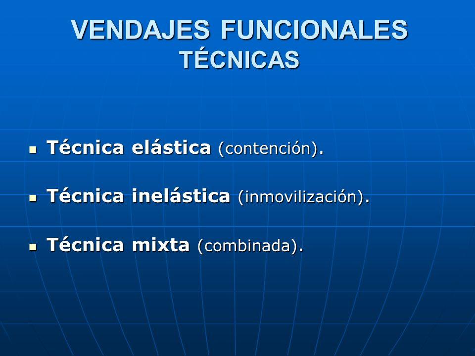 VENDAJES FUNCIONALES TÉCNICAS Técnica elástica (contención). Técnica elástica (contención). Técnica inelástica (inmovilización). Técnica inelástica (i
