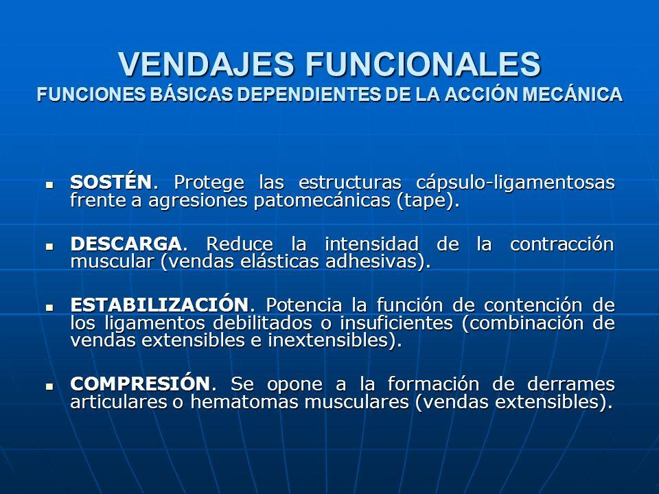 VENDAJES FUNCIONALES FUNCIONES BÁSICAS DEPENDIENTES DE LA ACCIÓN MECÁNICA SOSTÉN. Protege las estructuras cápsulo-ligamentosas frente a agresiones pat