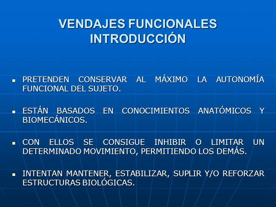 VENDAJES FUNCIONALES INTRODUCCIÓN PRETENDEN CONSERVAR AL MÁXIMO LA AUTONOMÍA FUNCIONAL DEL SUJETO. PRETENDEN CONSERVAR AL MÁXIMO LA AUTONOMÍA FUNCIONA