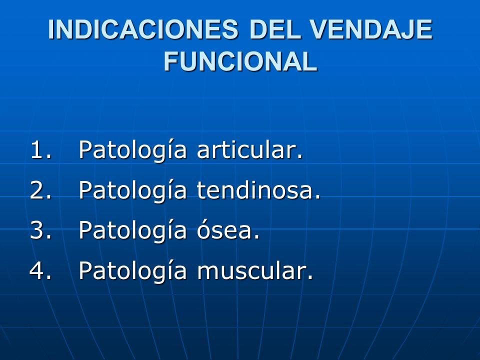 INDICACIONES DEL VENDAJE FUNCIONAL 1. Patología articular. 2. Patología tendinosa. 3. Patología ósea. 4. Patología muscular.