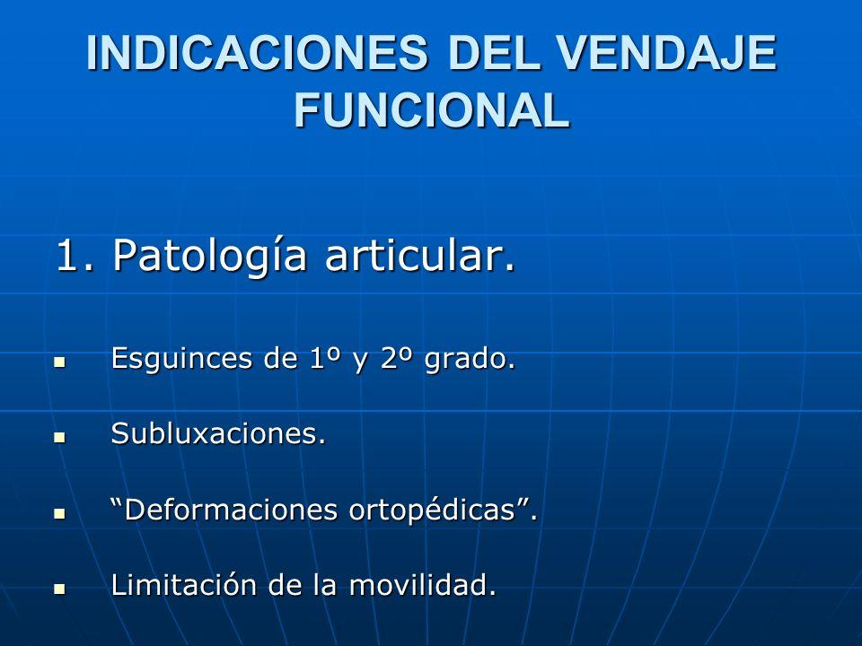 INDICACIONES DEL VENDAJE FUNCIONAL 1. Patología articular. Esguinces de 1º y 2º grado. Esguinces de 1º y 2º grado. Subluxaciones. Subluxaciones. Defor
